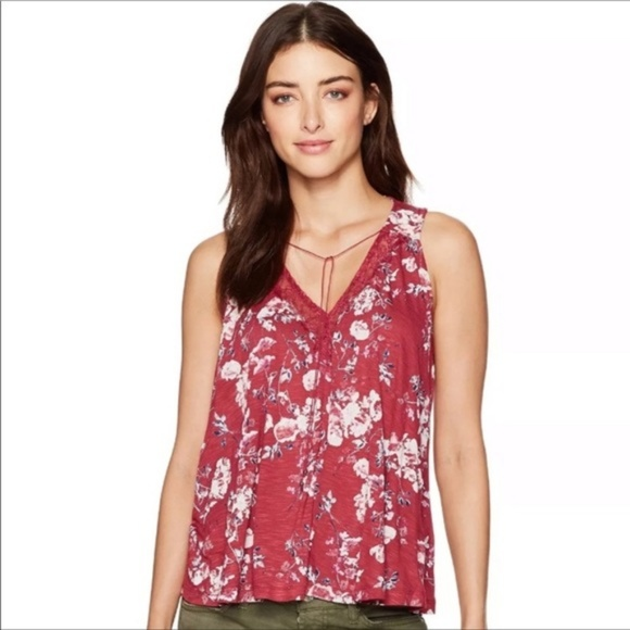 Lucky Brand Tops - Lucky Brand Floral Top with Lace, Size XS
